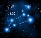 Abstrakta astronautyczny tło z gwiazdami i lwa gwiazdozbiorem royalty ilustracja