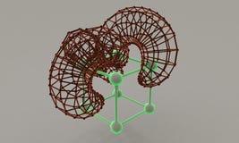 Abstrakta atom- deformeringkuber 3d framför Royaltyfri Foto