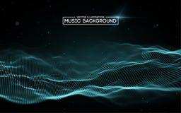 Abstrakta bakgrundsblått för musik Utjämnaren för musik som visar solida vågor med musik, vinkar, musikbakgrundsutjämnaren vektor illustrationer