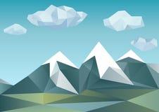 Abstrakta berg i polygonal stil Royaltyfri Fotografi