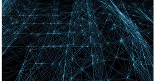 Abstrakta blåa futuristiska linjer och prickraster Fläta samman rengöringsduk, ett nätverk av rep, en ovanlig geometrisk svart ve vektor illustrationer
