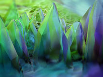 Abstrakta blåa kristaller för grönt exponeringsglas Arkivfoto
