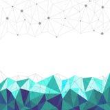 Abstrakta blåa polygonal, fodrar och pricken med vit bakgrund, vektor Royaltyfri Bild