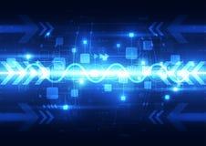 Abstrakta blåa teknologitelekomar bakgrund, vektorillustration Arkivfoto