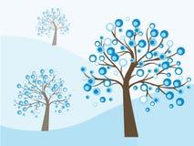 Abstrakta blåa träd Arkivfoton