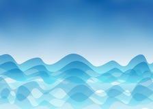 Abstrakta blåa vågor, hav och himmel royaltyfri illustrationer