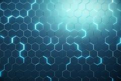 Abstrakta blått av den futuristiska yttersidasexhörningsmodellen med ljusa strålar framförande 3d Fotografering för Bildbyråer