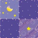 Abstrakta blått, lila bakgrund med stjärnor och måne Royaltyfri Foto