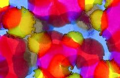 Abstrakta blått- och för limefruktgräsplan fläckar för varma rosa färger royaltyfri illustrationer