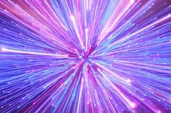 Abstrakta blått-, rosa färg- och lilabelysningstrimmor Fotografering för Bildbyråer