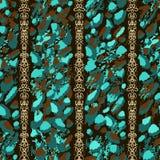 Abstrakta blått, turkos och bruna guld- kedjor för penseldrag och på svart bakgrund royaltyfri illustrationer