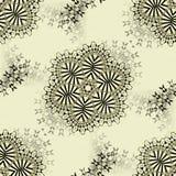 Abstrakta blom- prydnader grånar och svärtar på beiga Arkivfoto