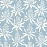 Abstrakta blommor räcker den utdragna sömlösa blåa modellen vektor illustrationer