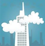 Abstrakta byggnader och moln för papper 3D Royaltyfri Fotografi