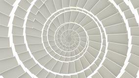 Abstrakta CGI-rörelsediagram och kretsad livlig bakgrund med vita kuber i spiral ordnar tunnelen Sömlös ögla arkivfilmer