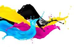Abstrakta CMYK koloru pluśnięcia Fotografia Royalty Free