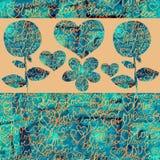 Abstrakta collagehjärtor och blommor på en färgbakgrund stock illustrationer