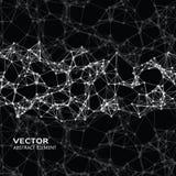 Abstrakta cybernetic partiklar för vit på svart bakgrund Arkivfoton