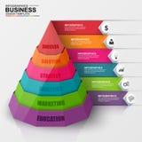 Abstrakta 3D cyfrowy biznesowy ostrosłup Infographic Obrazy Stock
