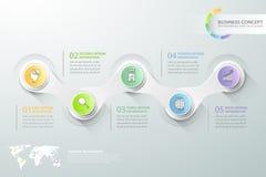 Abstrakta 3d infographic 5 alternativ, infographic affärsidé Royaltyfri Foto