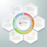 Abstrakta 3d infographic 6 alternativ, infographic affärsidé Arkivfoto
