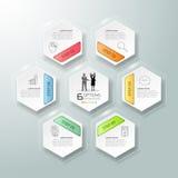 Abstrakta 3d infographic 6 alternativ, infographic affärsidé Royaltyfri Bild