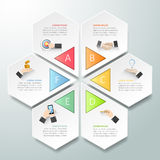 Abstrakta 3d infographic 6 alternativ, infographic affärsidé Royaltyfri Fotografi