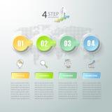 Abstrakta 3d infographic 4 alternativ, infographic affärsidé Royaltyfri Fotografi