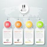Abstrakta 3d infographic 4 alternativ, infographic affärsidé Arkivbild