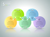 Abstrakta 3d infographic 5 alternativ, infographic affärsidé Arkivbilder