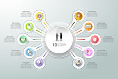 Abstrakta 3d infographic 10 alternativ, infographic affärsidé Royaltyfri Foto