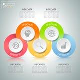 Abstrakta 3d infographic 5 alternativ, infographic affärsidé Arkivbild