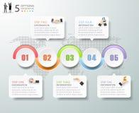 Abstrakta 3d infographic 5 alternativ, infographic affärsidé Arkivfoto