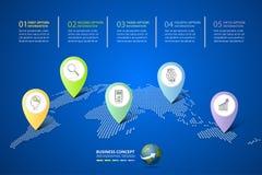 Abstrakta 3d infographic 5 alternativ, infographic mall för affärsidé Royaltyfri Bild