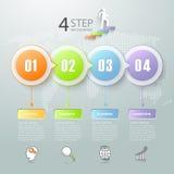Abstrakta 3d infographic 4 opci, Biznesowy pojęcie infographic Zdjęcie Stock