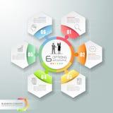 Abstrakta 3d infographic 6 opcj, Biznesowy pojęcie infographic Zdjęcie Stock