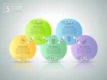 Abstrakta 3d infographic 5 opcj, Biznesowy pojęcie infographic Obrazy Stock