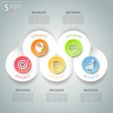 Abstrakta 3d infographic 5 opcj, Biznesowy pojęcie infographic Obraz Royalty Free