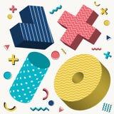 Abstrakta 3D przedmiotów projekta Memphis stylu wzór z kolorowymi geometrycznymi elementami na białym tle ilustracji