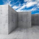 Abstrakta 3d tömmer den konkreta ruminre med blå himmel stock illustrationer