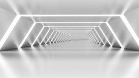 Abstrakta 3d tömmer den upplysta vita skinande vridna korridoren vektor illustrationer