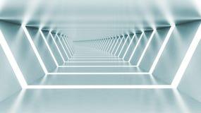 Abstrakta 3d tömmer upplyst ljus - blå skinande vriden korridor Royaltyfri Foto