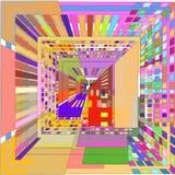 Abstrakta 3D wizerunek barwioni kwadraty na białym tle royalty ilustracja