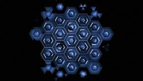Abstrakta Digital blåa sexhörningssymboler som drar på svart bakgrund som fyller skärmen Animering för Digital teknologi 3d 4K stock illustrationer