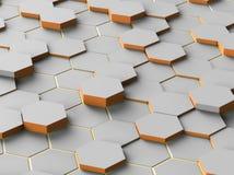 Abstrakta Digital Gray Hexagon stock illustrationer
