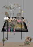 Abstrakta djur och ett sammanträde för gammal dam på en enorm tabell Royaltyfria Bilder