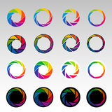 Abstrakta färgformer, spiral, öppning slutare stock illustrationer