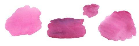 Abstrakta färgglade rosa fläckar för vattenfärg som dras av händer royaltyfri illustrationer
