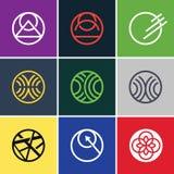 Abstrakta färgrika cirkelsymbolsuppsättningar stock illustrationer