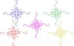 Abstrakta färgrika dekorativa designbeståndsdelar med vit bakgrund stock illustrationer